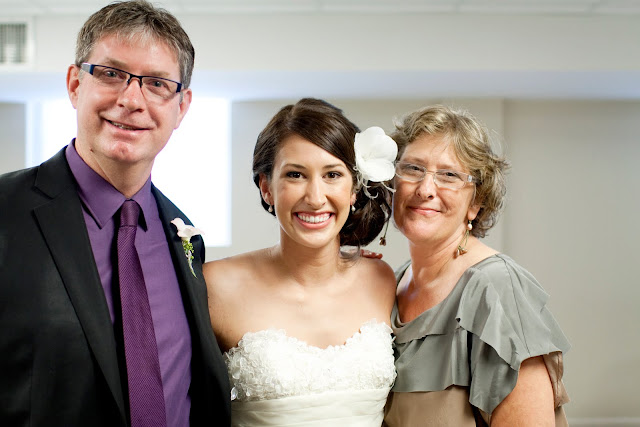Portrait of bride and her parents before the wedding
