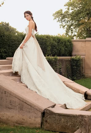 White Modest Wedding Dress with Long Train