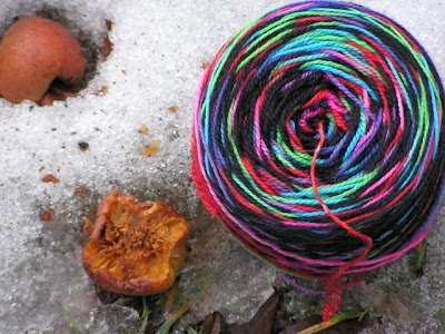 photo of gothsocks yarn cake in the snow