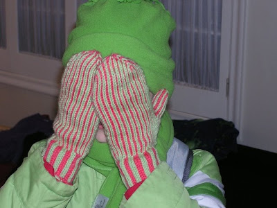 picture of mittens being worn, covering the wearer's face