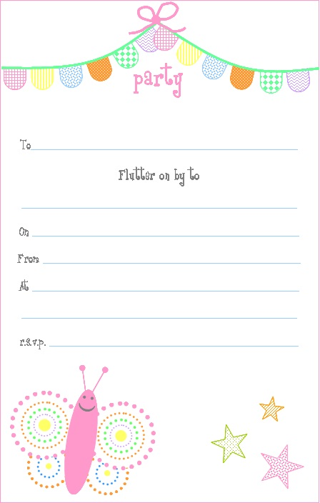 Free printable - Pink Butterfly Party Invitations