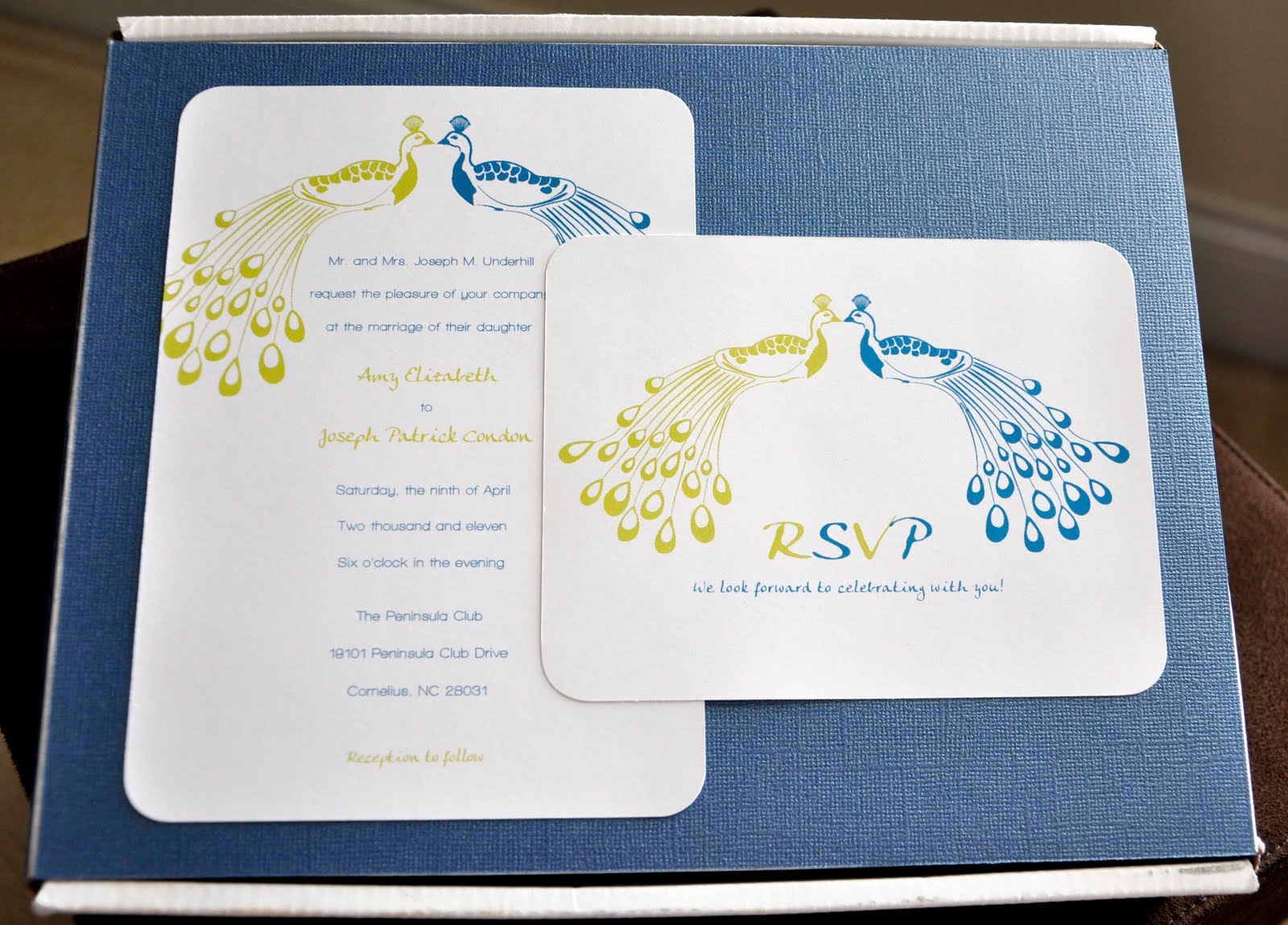 oshea designs customized paper goodies peacock wedding invites