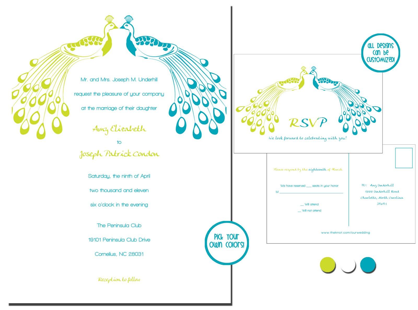 oshea designs customized paper goodies peacock wedding invites