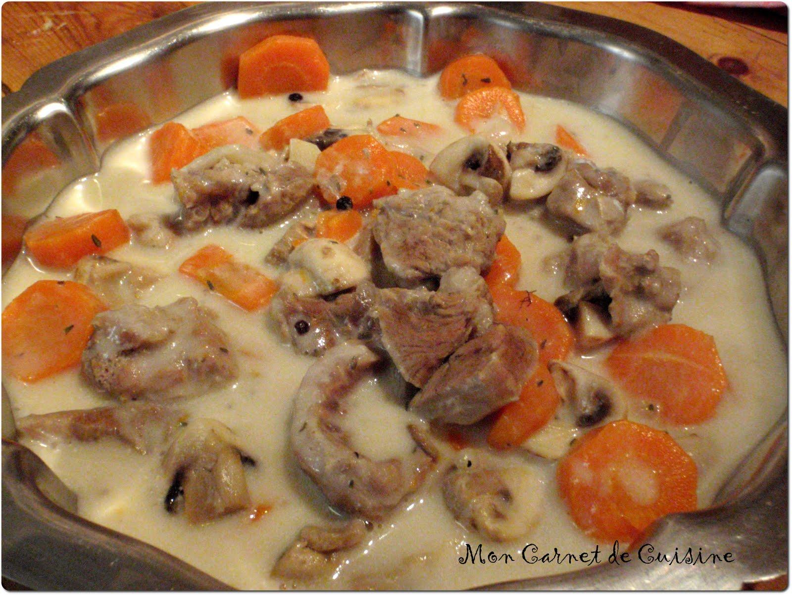 Mon carnet de cuisine blanquette de veau - Cuisine blanquette de veau ...