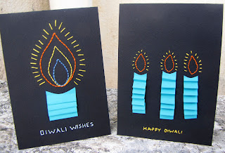 hand stitched diwali cards