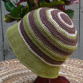 Crochet bucket-style hat, Woodland