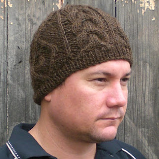 beanie pattern with aran-style textured stitches
