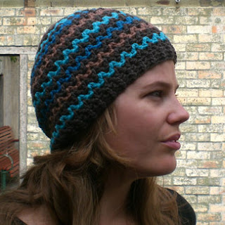 SEDONA, crocheted beanie, bargello stripes