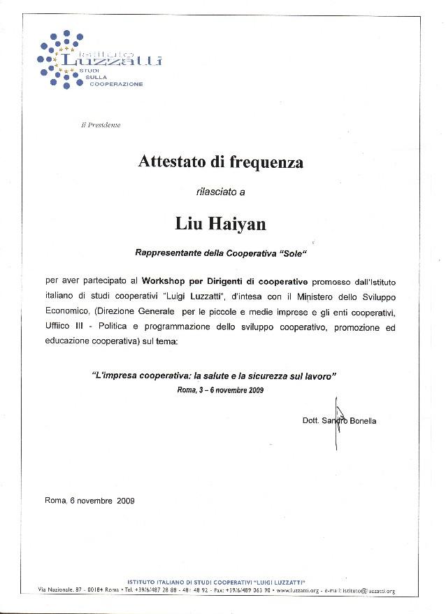 Attestato liu haiyan - corso di sicurezza e salute sul lavoro