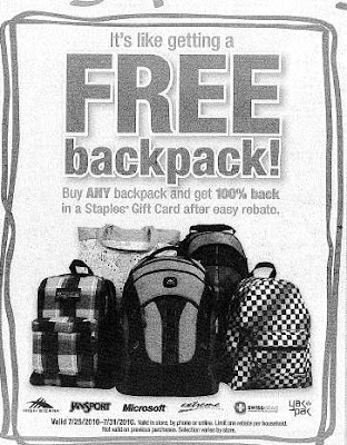 Free Staples Backpack After Rebate