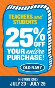Old Navy Teacher Student Sale