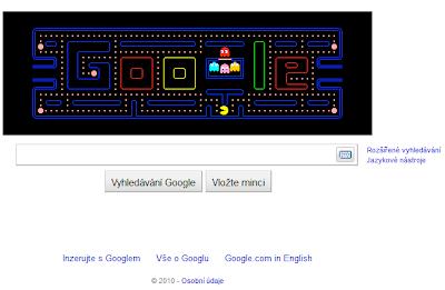 Google logo: Pac-Man hra přímo na úvodní stránce Google.com