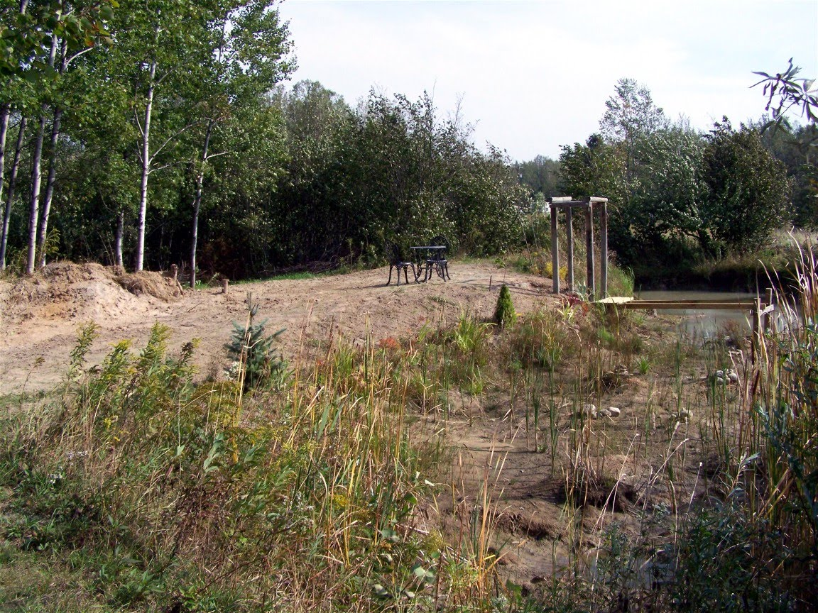 Landscaping Pond Banks : Trails food forest garden work on pond banks yesterday
