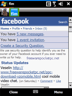 fim facebook instant messenger windows mobile 1 تحميل برنامج فيس بوك ماسنجر للجوال   Facebook Mobile messenger