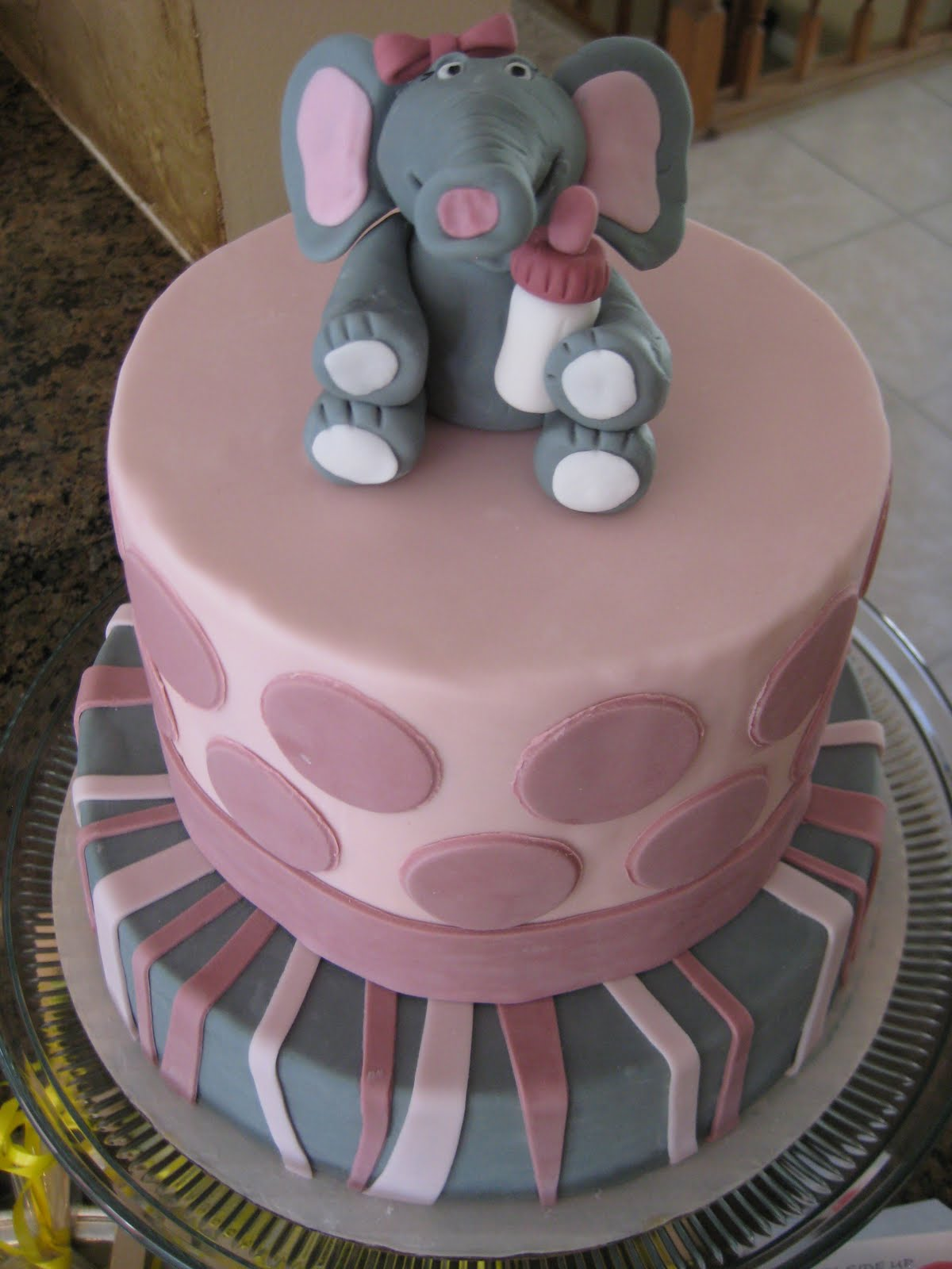pink baby elephant baby shower cake the cake