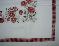 Floral Brown Checked Vintage Tablecloth