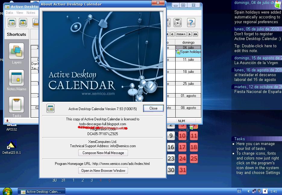 Active desktop calendar v7.27 build 071019 key app