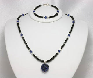 Sapphire Crystal Sodalite Rose Gemstone Necklace Set (NBS1)