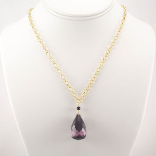 Gold Faceted Purple Fiber Optic Teardop Pendant Necklace (N019)