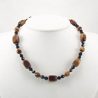 Tiger Eye Gemstone Crystal Beaded Choker Necklace (NB024)