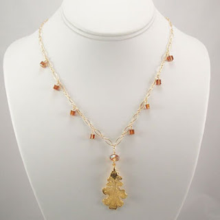 Real Oak Leaf Pendant Crystal Necklace (N034)