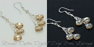 Emma's Custom Crystal Drop Prom Earrings (E257)