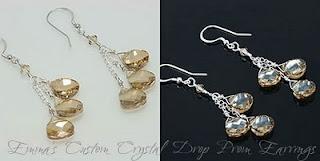Emma's Custom Crystal Drop Prom Earrings (E257)