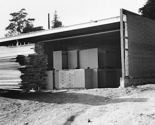 gregory ain - altadena - park planned homes - prefabricated cabinets in unfinished garage, circa 1946
