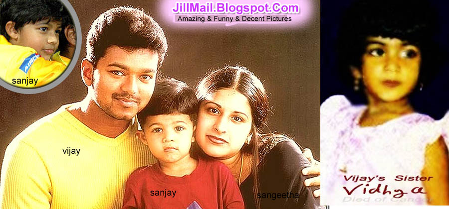 Vijay and Sangeetha has a son Sanjay and Daughter Divya Sasha