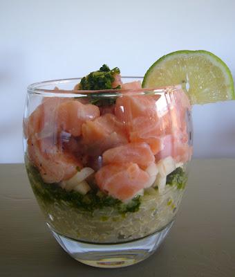 Verrine fraicheur saumon quinoa pesto de coriandre
