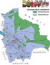 En azul, el territorio donde Evo Morales ganó. (Gráfico: Radio Fides)