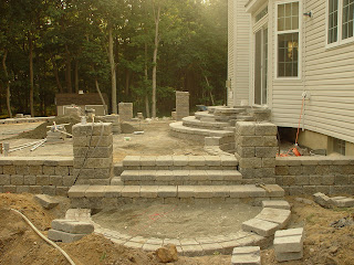 (300 Mm) From The Back Side Of The Wall. The Tubes Penetrating The Base  Will Support A Planned Split Rail Fence On The Interlocking Concrete Paver  Patio.
