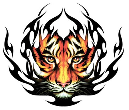 Temporary Tattoo Tribal Tiger Black thumb