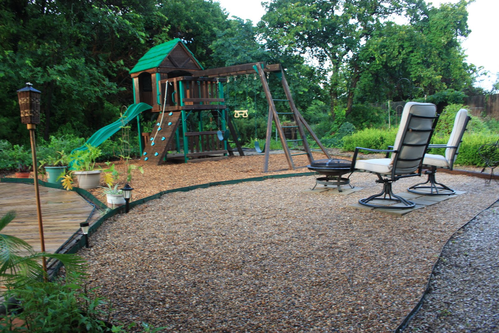 put down 3 yards of playground mulch and 1 yard of river rock I had