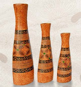 Batik Flower Vase Handicraft, Clay Handicraft, Homemade Handicraft