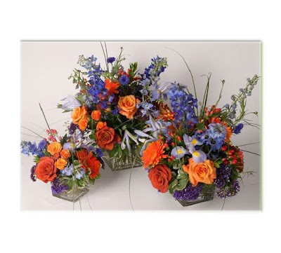 Orange, Blue, and Purple Centerpieces