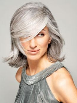 Young woman with grey hair