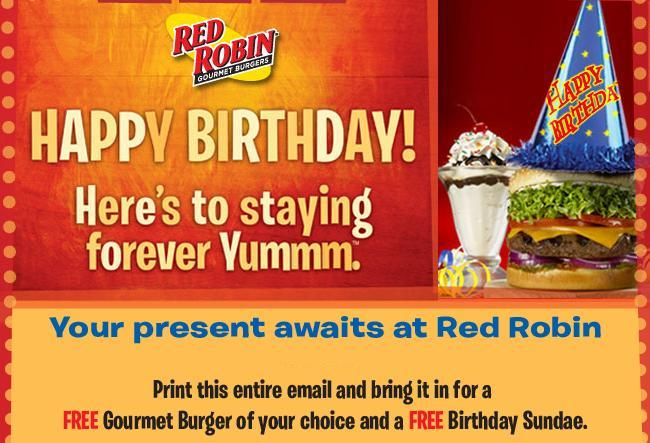 Red Robin Discounted Gift Card. Red Robin has transitioned their free burger on your birthday to their loyalty card. But you still get a free burger as part of the Red Robin birthday freebie rewards! All you have to do is register for a free Red Royalty Card at their site and you'll be good to go.. Red Robin Free Birthday .