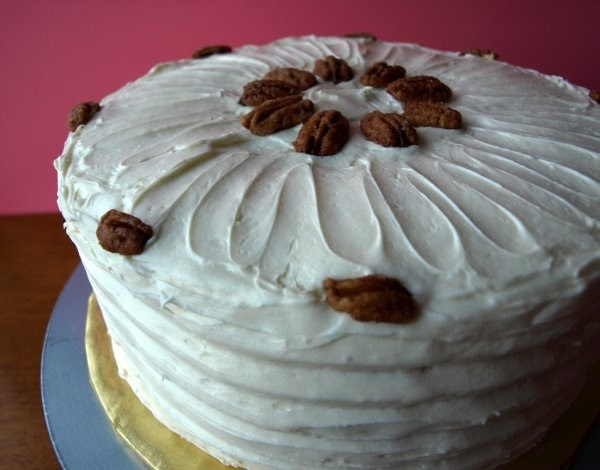 ... Slice: Banana Cake with Praline Filling and White Chocolate Ganache