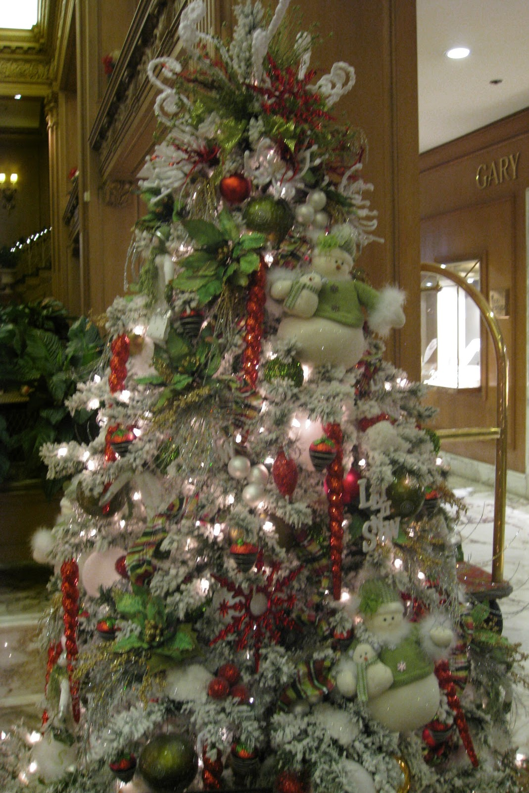 decorated Christmas trees.
