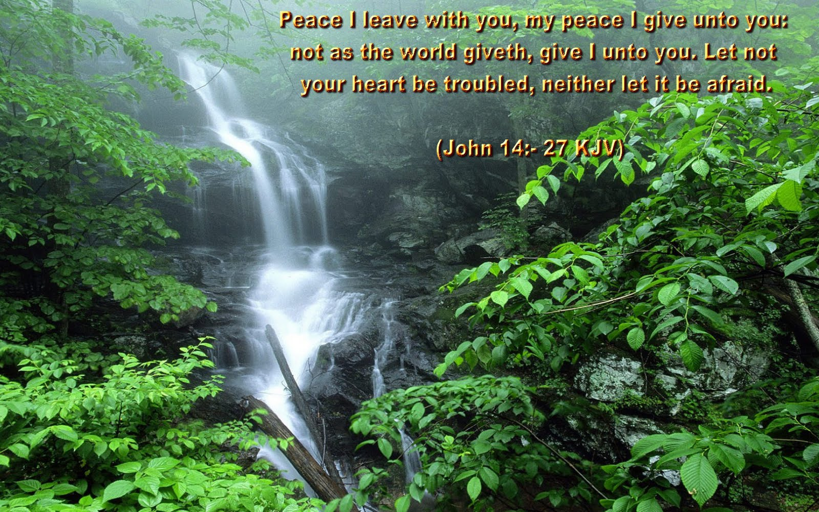 John 1427 Bible Quote Nature Background