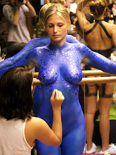 Sexy Twins Girl Blue Body Painting