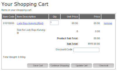 E-Commerce: Shopping Cart
