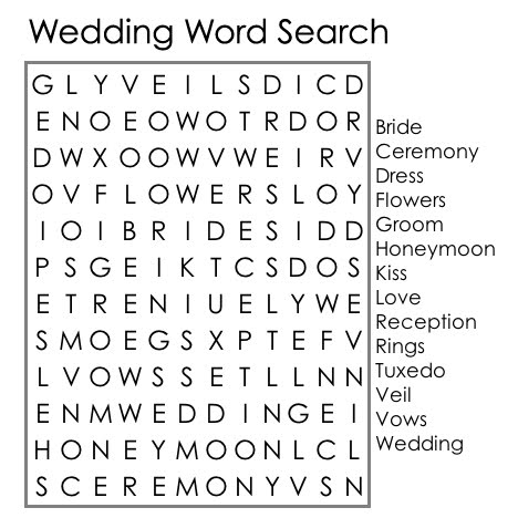 Wedding Word Search For Kids