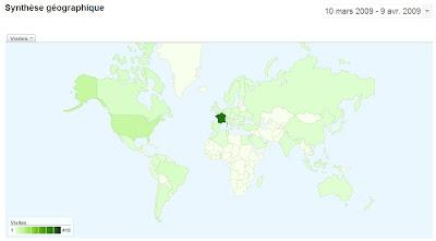 Synthèse géographique du blog depuis sa création