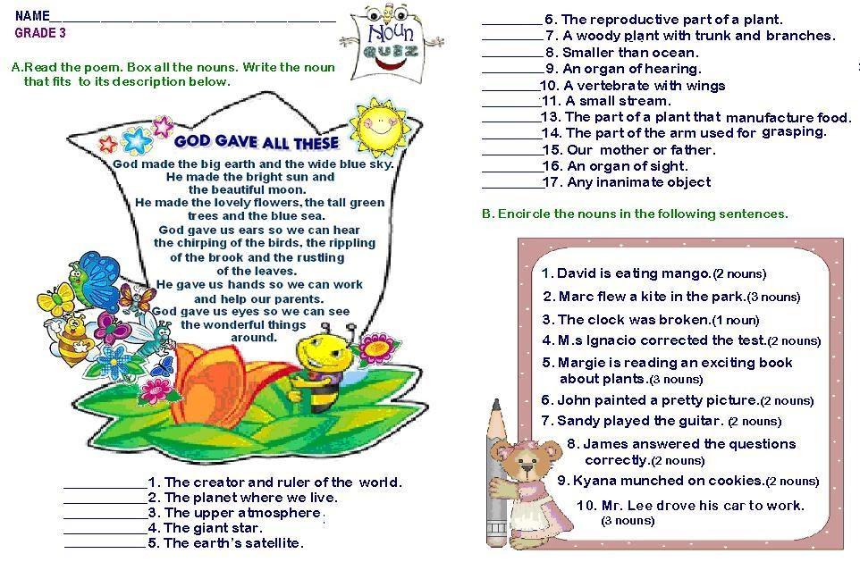 Grammar Worksheets Grade 3 Nouns