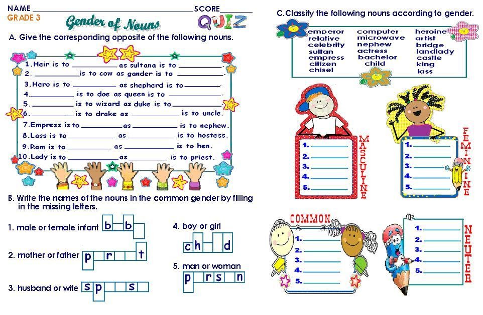 Grammar worksheets for grade 3 genders