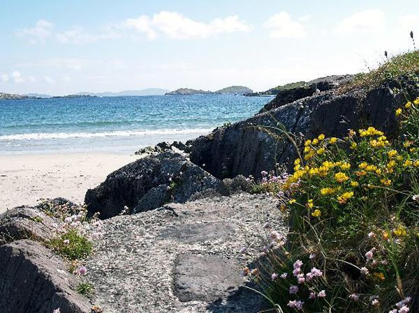 Derrynane beach, eng vun den Plagen vun Caherdaniel