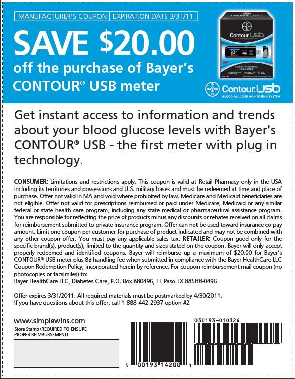 Contour blood glucose meter coupon