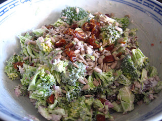 Broccoli Salad- made with yogurt and dates by Ng @ What's for Dinner?